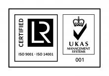 LRQA logo signifying that Somerset Energy Innovation Centre as part of SWMAS has been awarded ISO 9001 and ISO 14001